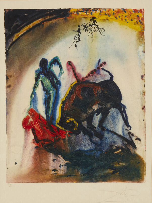 Salvador Dalí, 'Tauromachie III Tauromachie V', 1968, Print, Color lithograph with embossing on Japon Nacre paper under glass, John Moran Auctioneers