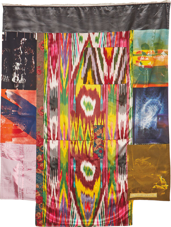 Robert Rauschenberg, 'Samarkand Stitches #III, from Samarkand Stitches', 1988, Print, Unique fabric assemblage including Ikat silk and domestic fabrics with screenprinting, lacking powder-coated aluminum rod for hanging., Phillips