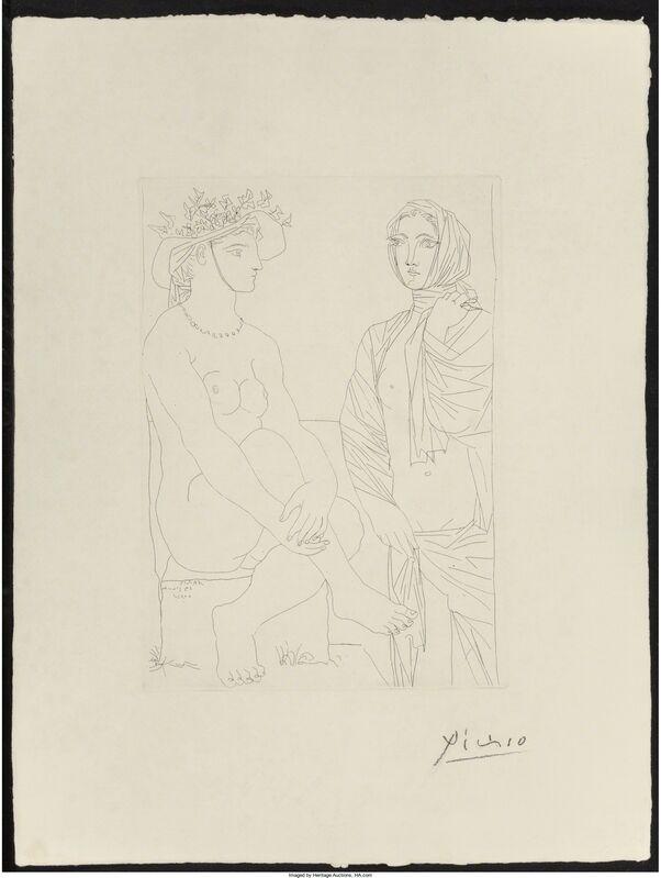 Pablo Picasso, 'Femme assise au chapeau et femme debout drapée, pl. 79, from La Suite Vollard', 1933, Print, Etching on Montval laid paper, Heritage Auctions