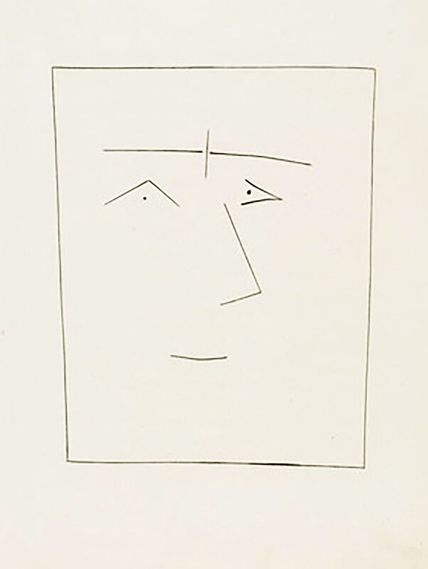 Pablo Picasso, 'Square Head of a Man with Joined Eyebrows (Plate V)', 1949, Print, Original etching on Montval wove paper, Georgetown Frame Shoppe