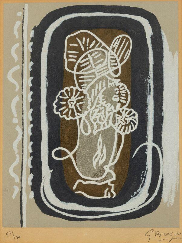 Georges Braque, 'Bouquet des fleurs blanches from Si je mourais là-bas', 1962, Print, Color woodcut, Hindman