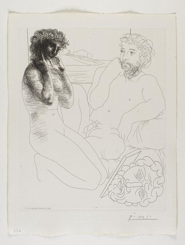 Pablo Picasso, ''Sculpteur et modèle se regardant dans un miroir calé sur un autoportrait sculpté' from the 'Suite Vollard'', 1933, Print, Etching, Frederick Mulder