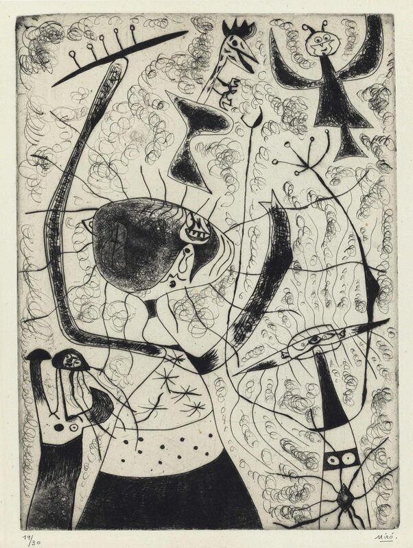Joan Miró, 'Les trois soeurs', 1938, Print, Etching with drypoint, on Arches paper, Christie's