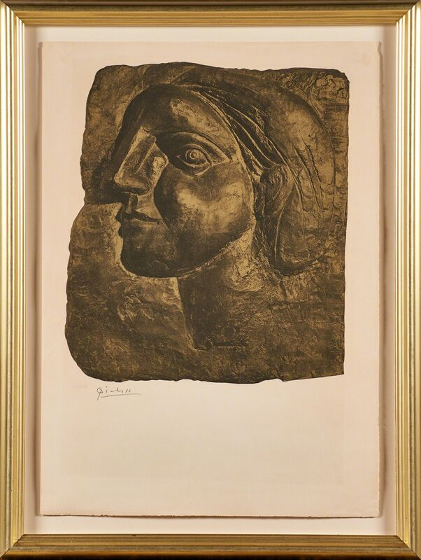 Pablo Picasso, 'Tête de Femme (Marie-Thérèse)', 1958, Print, Lithograph and Collotype in Gold and Brown (framed), Rago/Wright