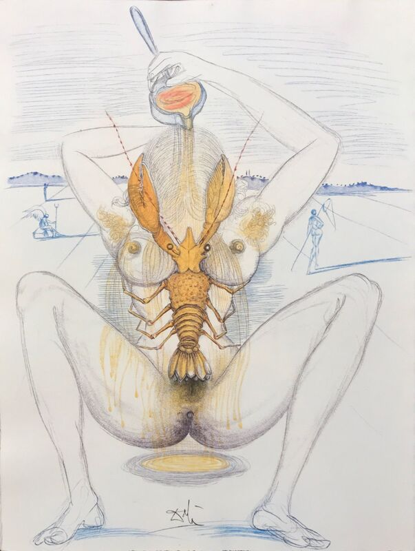 Salvador Dalí, 'Casanova - Nude and Lobster', 1967, Drawing, Collage or other Work on Paper, Original engraving, Dali Paris