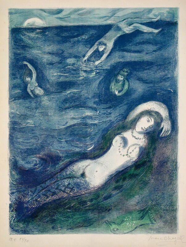 """Marc Chagall, '""""So I came forth of the sea and sat down..."""" (Four Tales from the Arabian Nights, M.40)', 1948, Print, Hand-signed lithograph, Martin Lawrence Galleries"""
