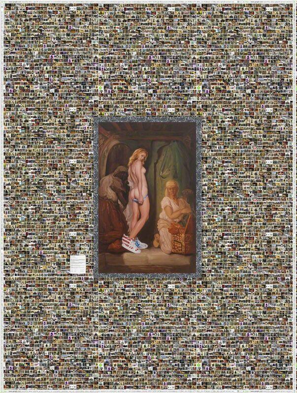 Shoja Azari, 'Oriental Bath or Bunnies R Us', 2013, Installation, Oil on canvas mounted on wallpaper, Leila Heller Gallery