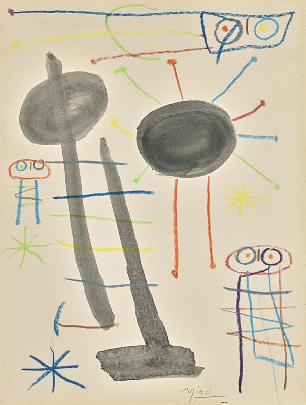 Joan Miró, 'Sans titre, circa 1957', ca. 1957, Painting, Brush and ink and coloured crayons on paper, Opera Gallery