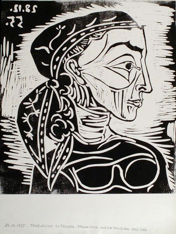 Pablo Picasso, 'Profil de Jacqueline au Foulard', 1955, Linocut printed in black, Frederick Mulder