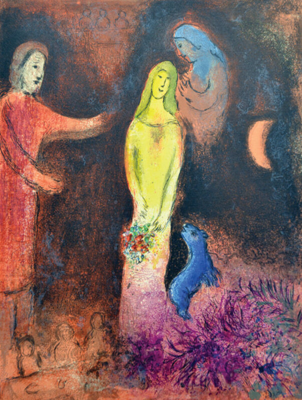 Marc Chagall, 'Chloe is Dressed and Braided by Cleariste', 1961, Print, Original lithograph printed in colors on Arches wove paper., Galerie d'Orsay