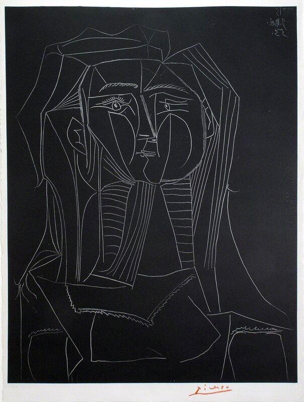 Pablo Picasso, 'Tête sur fond noir', 1953, Print, Lithograph, R. S. Johnson Fine Art