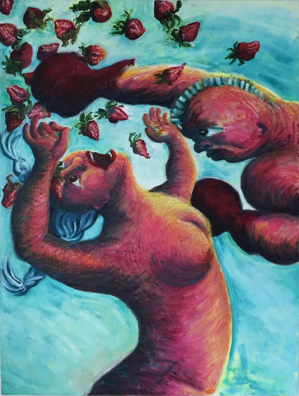 Noriko Shinohara, 'Cutie and the Strawberry Boxer', 2013, Painting, Oil and oil stick on canvas, Deborah Colton Gallery