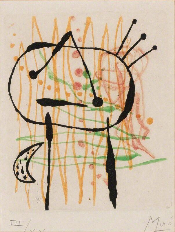 Joan Miró, 'La Bague D'Aurore (Dupin 134)', 1957, Print, Color etching and aquatint, on Japon nacré paper, Doyle