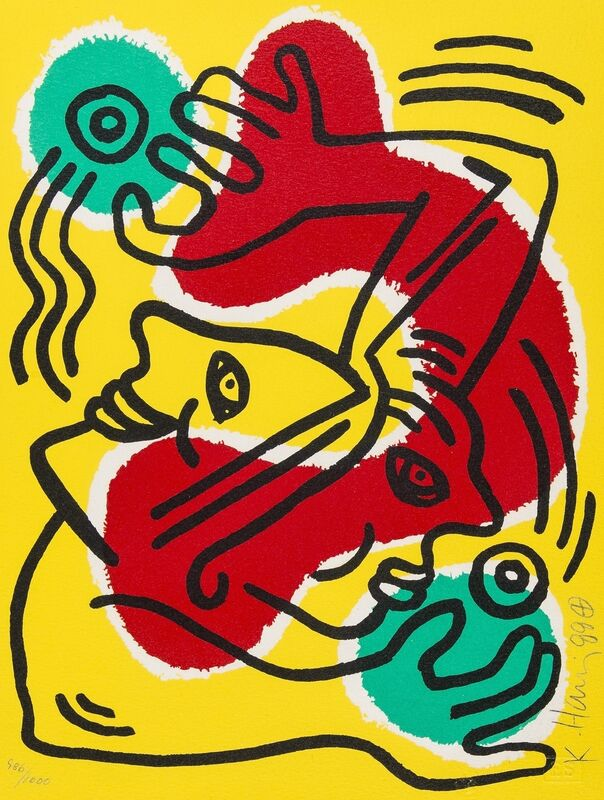 Keith Haring, 'International Volunteer Day (See Littmann page 93)', 1988, Print, Lithograph printed in colours, Forum Auctions