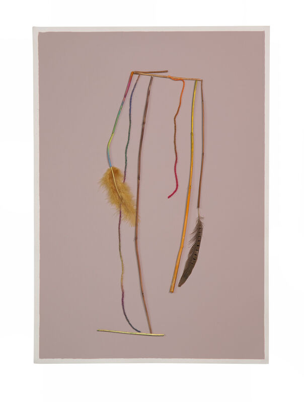 Georgie Hopton, 'Dreamcatcher (ii)', 2018, Drawing, Collage or other Work on Paper, Wool, sticks and feathers on painted paper., Lyndsey Ingram