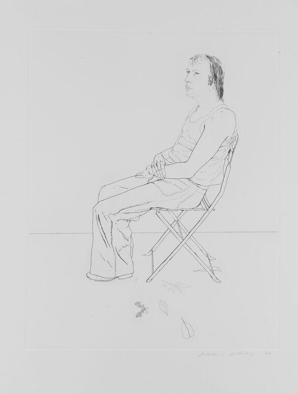 David Hockney, 'Mo with Five Leaves', 1971, Print, Etching, Lyndsey Ingram