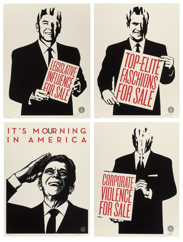 Shepard Fairey, 'Reagan and Friends (four works)', 2011, Print, Screenprints in colors on wove paper, Heritage Auctions