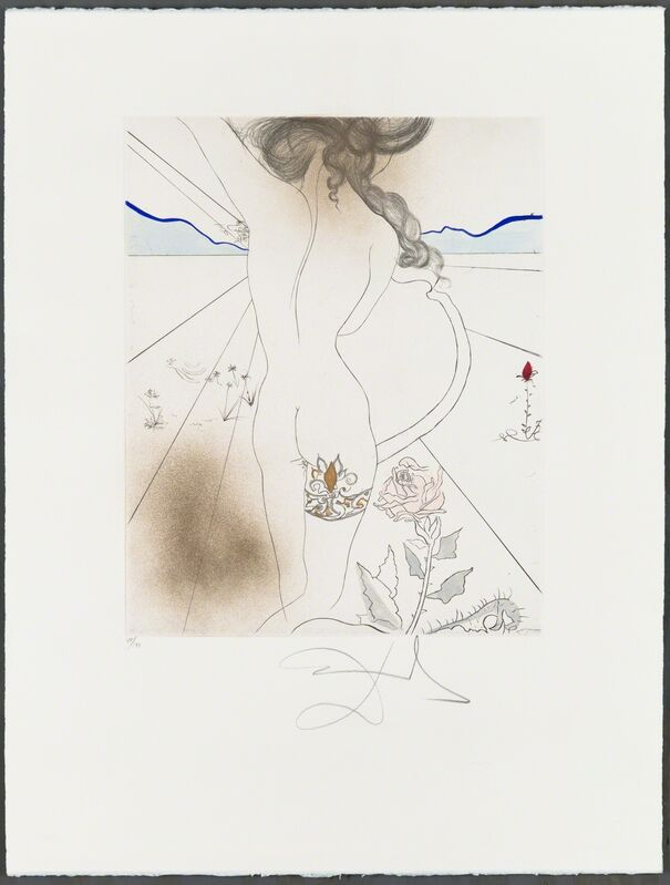 """Salvador Dalí, 'NU À LA JARRETIÈRE (Nude with Garter)', 1969-1970, Print, Original drypoint printed in colors on wove paper bearing the """"ARCHES FRANCE"""" watermark, with hand-coloring added., Christopher-Clark Fine Art"""
