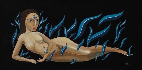 Anne Faith Nicholls, 'Reclining Nude in Cool Blue Flames', 2018