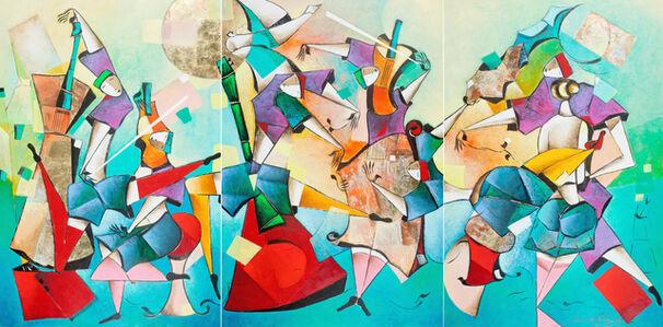 David Schluss, 'Musical Soiree - Triptych', 2017