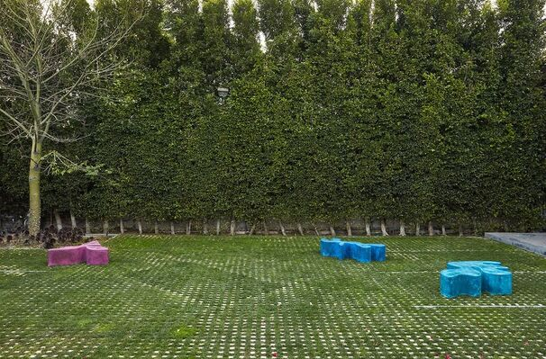 Sarah Crowner: Three Concrete Sculptures, installation view