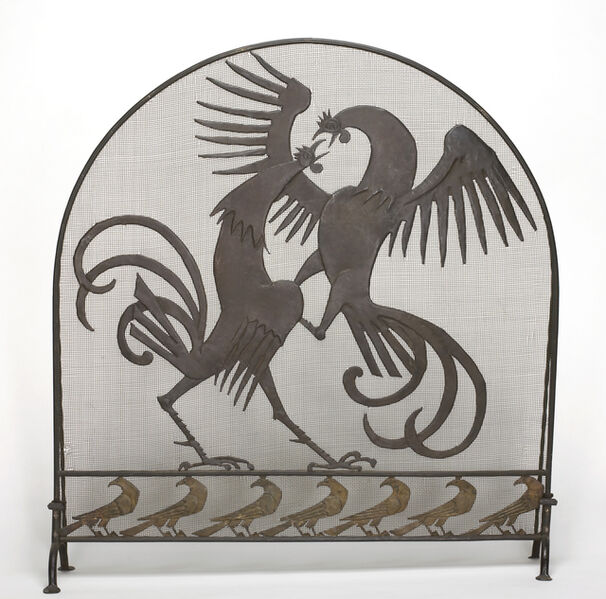 Wilhelm Hunt Diederich, 'Firescreen: Cocks and Crows', ca. 1930