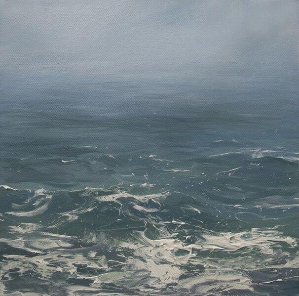 "Annie Wildey, '""Haze on the Horizon"" oil painting of haze over blue green ocean water', 2010-2017"