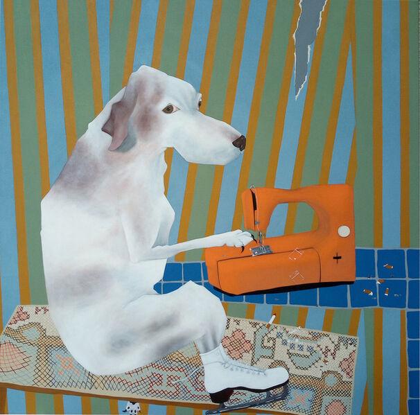 Thordis Adalsteinsdottir, 'Klettur sewing plastic bags', 2020