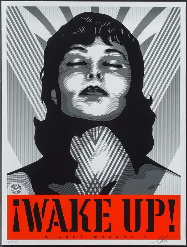 Shepard Fairey, 'Wake Up! (White and Cream) (two works)', 2017, Print, Screenprint in colors on paper, Heritage Auctions
