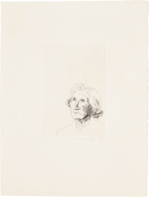 """David Hockney, 'My Mother Today: as a Study for Félicité in """"A Simple Heart"""" of Gustave Flaubert', 1974, Print, Etching, on Arches paper, with full margins, Phillips"""