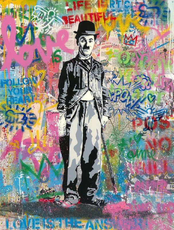 Mr. Brainwash, 'Chaplin', 2020, Painting, Silkscreen and Mixed Media on Paper, Maddox Gallery