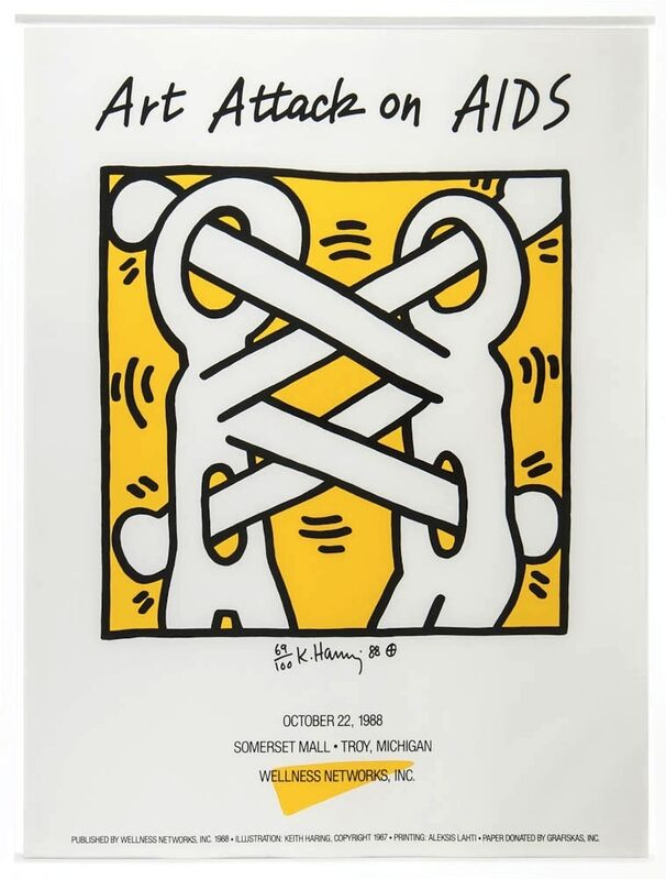 Keith Haring, 'Attack on Aids', 1988, Print, Silkscreen in two colours on poster paper, Rhodes