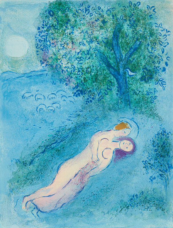 Marc Chagall, 'La Leçon de Philétas (Philétas Lesson), from Daphnis et Chloé', 1961, Print, Lithograph in colors, on Arches paper, the full sheet., Phillips