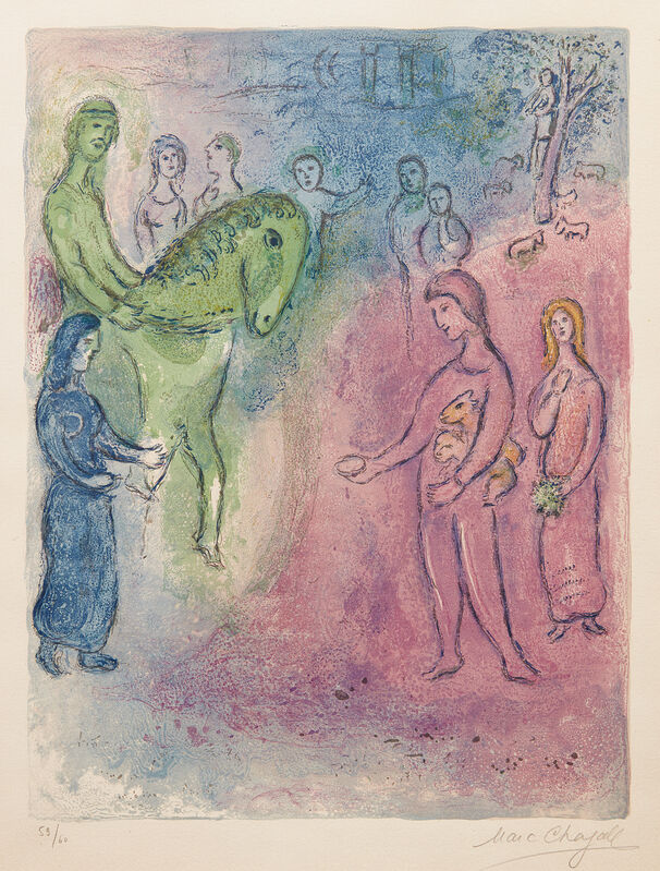 Marc Chagall, 'Arrivée de Dionysophane (The Arrival of Dionysophanes), plate 37 from Daphnis and Chloé', 1961, Print, Lithograph in colors, on Arches paper, with full margins., Phillips