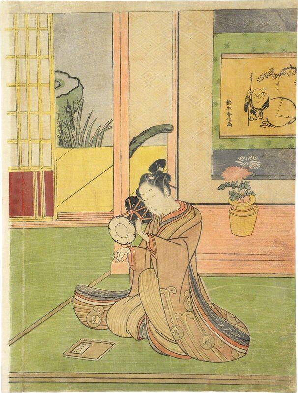 Suzuki Harunobu, 'Young Man Playing a Ko-Tsuzumi', Print, Woodblock print, Scholten Japanese Art
