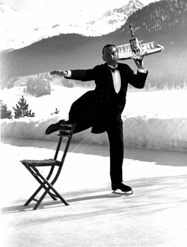 Alfred Eisenstaedt, 'Ice Skating Waiter, Grand Hotel, St. Moritz', 1932, Photography, Gelatin Silver Print, Staley-Wise Gallery
