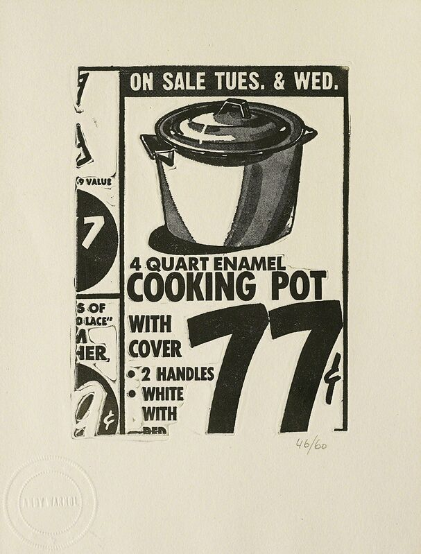 Andy Warhol, 'Cooking Pot, from International Anthology of Contemporary Engraving: The International Avant-Garde, Vol. 5, America Discovered', 1962, Print, Photoengraving, on BFK Rives paper, with full margins, Phillips