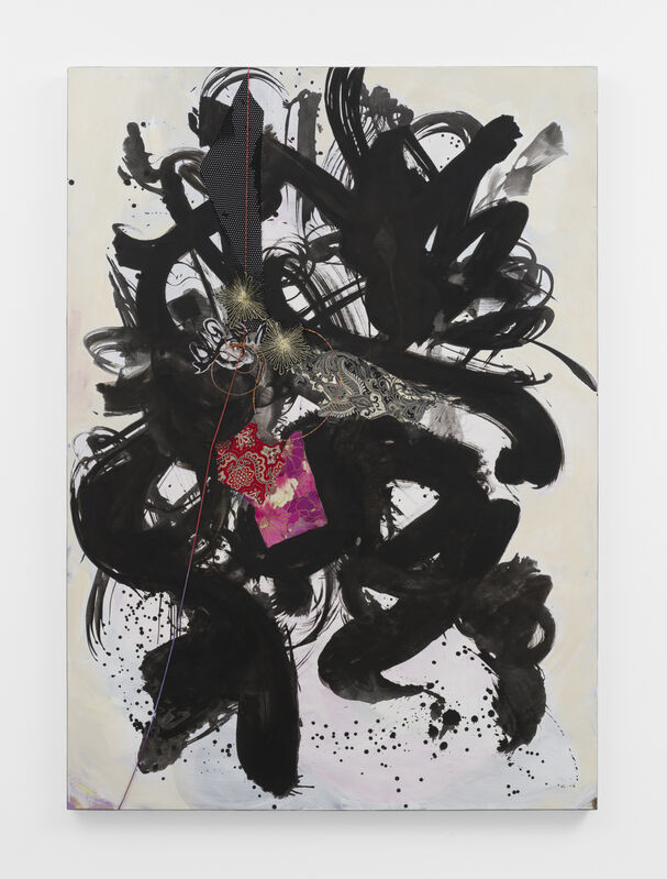 Shinique Smith, 'Exposed by the dawn, they danced frantically home', 2019, Drawing, Collage or other Work on Paper, Ink, acrylic, fabric, and paper collage on paper, Gavlak
