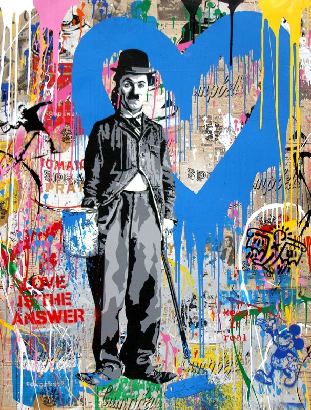 Mr. Brainwash, 'Chaplin', 2018, Drawing, Collage or other Work on Paper, Silkscreen and mixed media on paper, Taglialatella Galleries