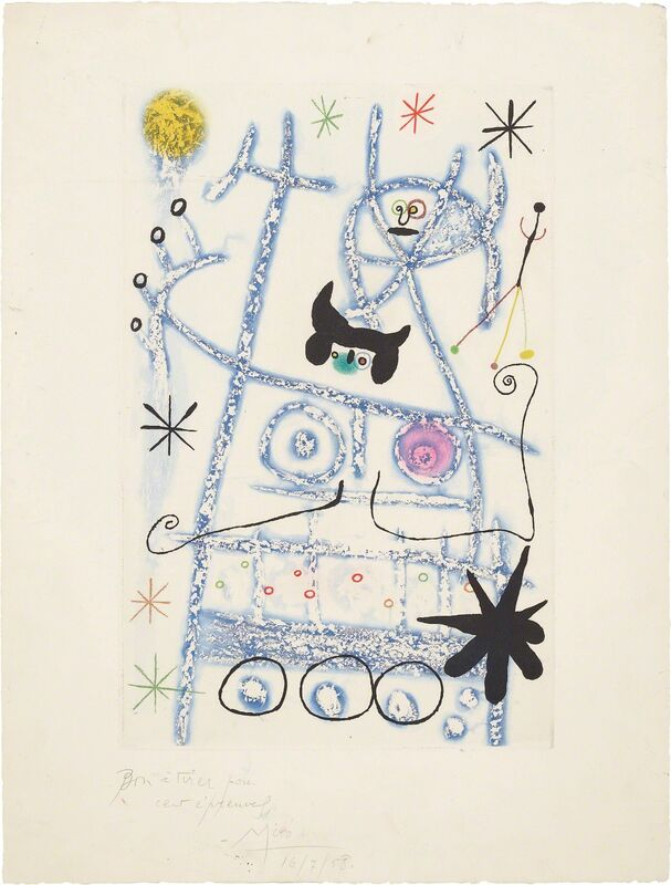 Joan Miró, 'Les forestiers (bleu) (The Foresters - blue)', 1958, Print, Aquatint in colors, on Rives BFK paper, with full margins, Phillips