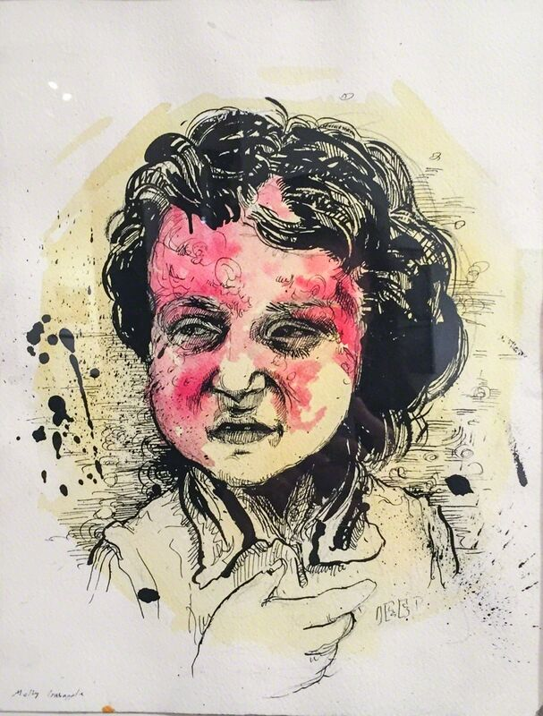 Molly Crabapple, 'Syrian Girl Scarred by Barrel Bomb', 2014, Drawing, Collage or other Work on Paper, Ink on paper, Postmasters Gallery