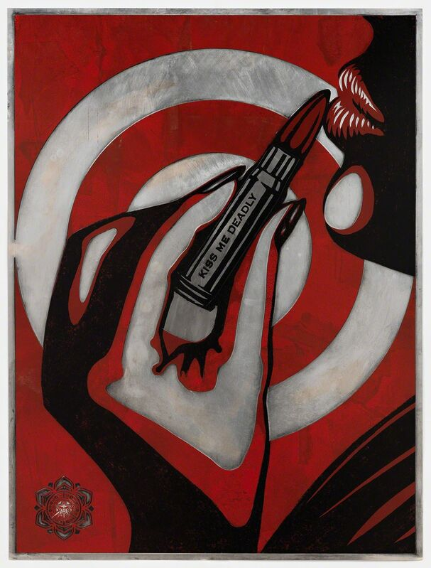Shepard Fairey, 'Kiss Me Deadly (Plate)', 2012, Painting, Hand-rubbed, rolled, and transferred ink on photo-etched magnesium plate, Pace Prints