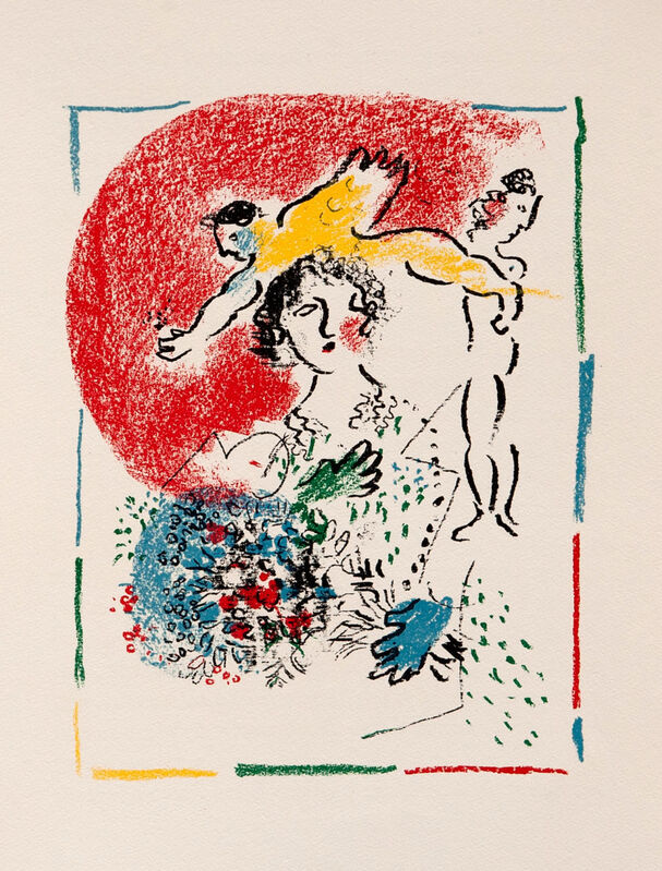 Marc Chagall, 'Lady with Bouquet I Red Sun', 1976, Print, Lithograph, Goldmark Gallery