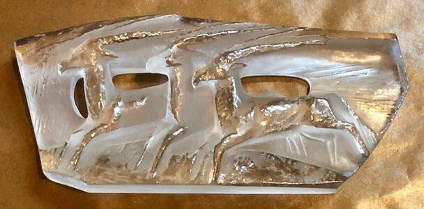 """Jan Cerny, 'Czech Modern Mould Matte Glass """"Three Deer"""" Art Deco Brut Sculpture Relief ', Mid-20th Century"""