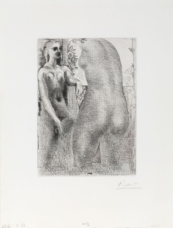 Pablo Picasso, 'Modele et grande sculpture de dos  (Marie-Therese regardent son corpse sculpte), from Suite Vollard ', 1933, Print, Etching on Laid Paper, RoGallery