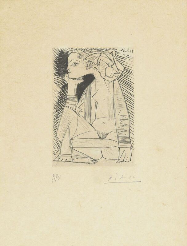 Pablo Picasso, 'Femme assise en tailleur: Geneviève Laporte', 1951, Print, Etching and drypoint on japon nacré paper, Christie's