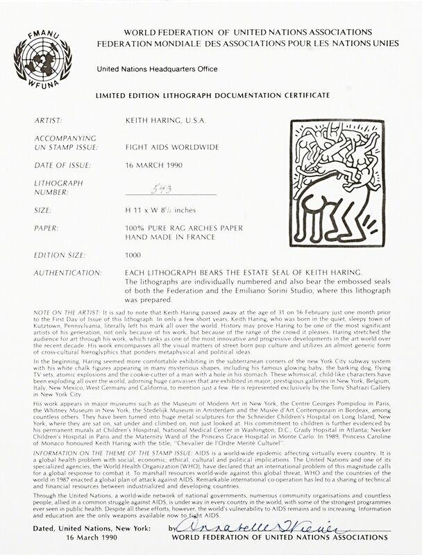 Keith Haring, 'Untitled (Fight Aids Worldwide)', 1990, Print, Lithograph in colors, Rago/Wright