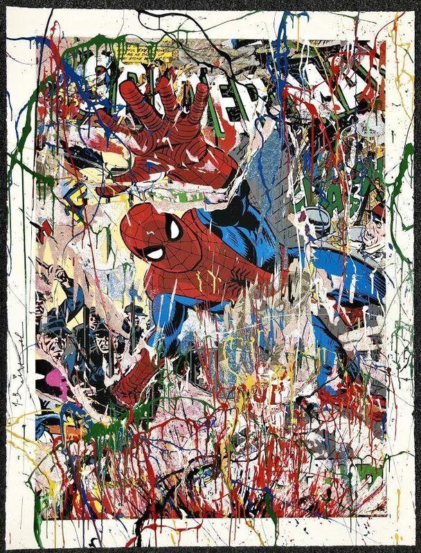 Mr. Brainwash, 'Spider Man (Hand-Embellished)', 2019, Mixed Media, Silkscreen with Acrylic Hand Embellishments on paper, DANE FINE ART