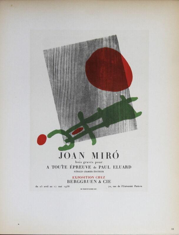 Joan Miró, 'Berggruen & Cie', 1959, Ephemera or Merchandise, Stone Lithograph, ArtWise