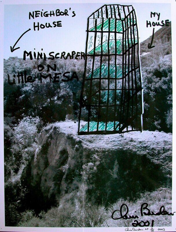 Chris Burden, 'Miniscraper on little MESA', 2001, Photography, Offset on metal, Galerie Krinzinger